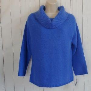 Rafaella Blue Cowl Neck Sweater